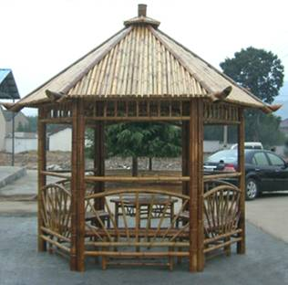 bamboo sheds Include chairs connect with the gazebo and a separate table